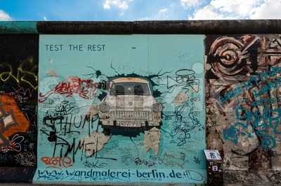 Trabi on the Berlin East Side Gallery Stock Photo