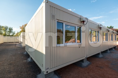 Refugees welcome - temporary container city Stock Photo
