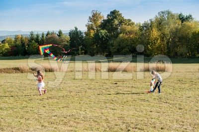 Cute children flying a kite Stock Photo