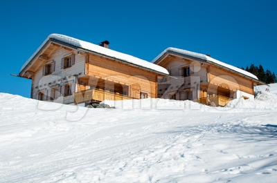 Skiing huts in Montafon Stock Photo