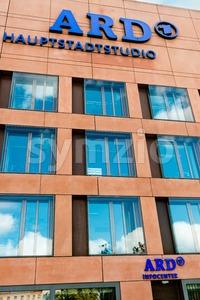 ARD studio Berlin - refugees welcome Stock Photo