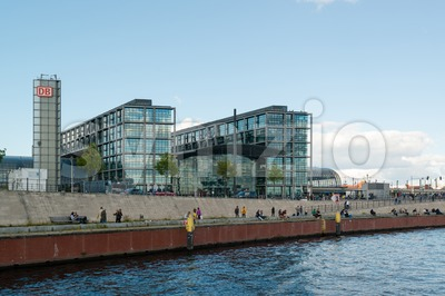 Central train station in Berlin, Germany as seen from the river Spree Stock Photo