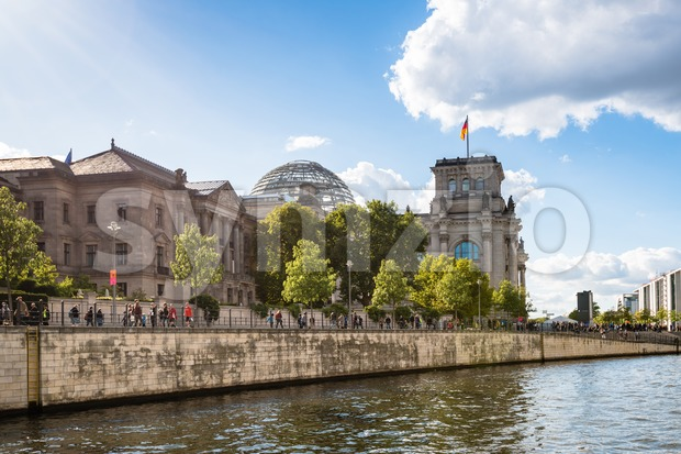 View on the Reichstag building in Berlin from river Spree Stock Photo