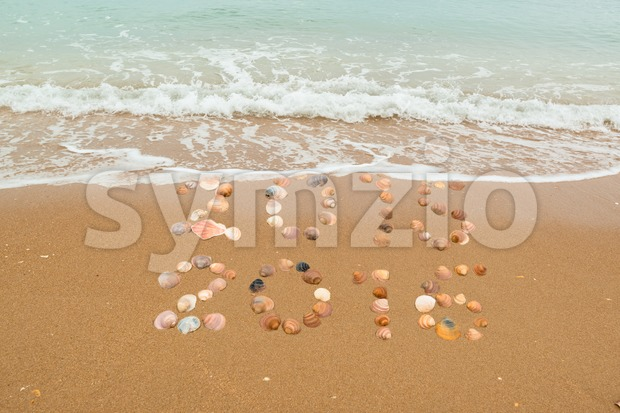 Happy New Year 2016 concept: The waves are about to cover 2015, both years placed with seashells on the beach