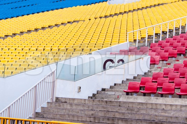 Colourful tribunes along the Formula One race course in Singapore