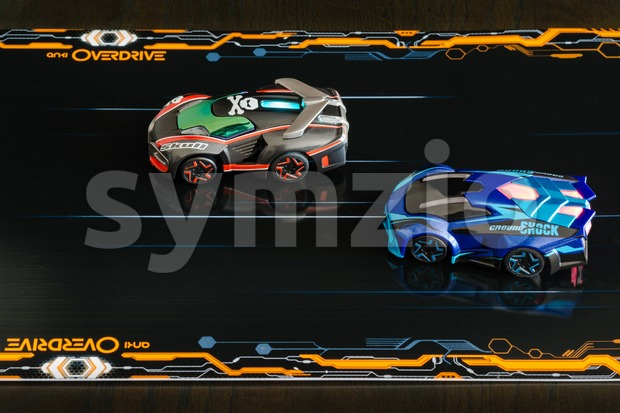 Ostfildern, Germany - November 8, 2015: The new Anki Overdrive smart toy car racing is set up in a living ...