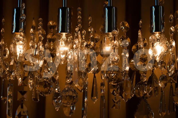 Modern chrystal chandelier Stock Photo