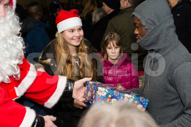 Christmas at German refugee camp Stock Photo