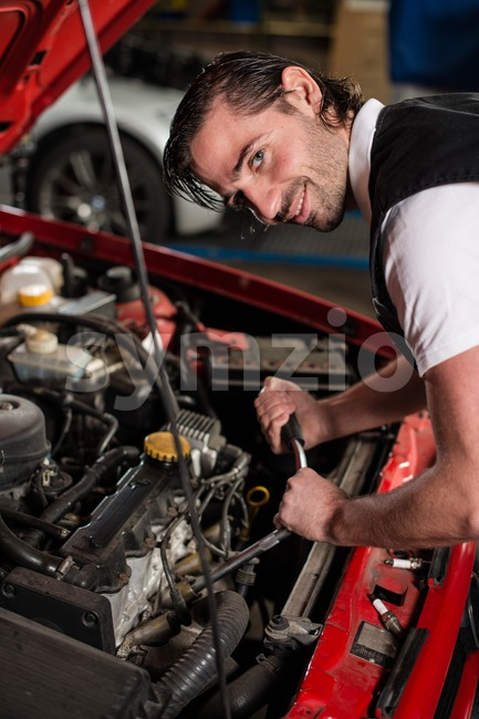 Auto mechanic portrait Stock Photo