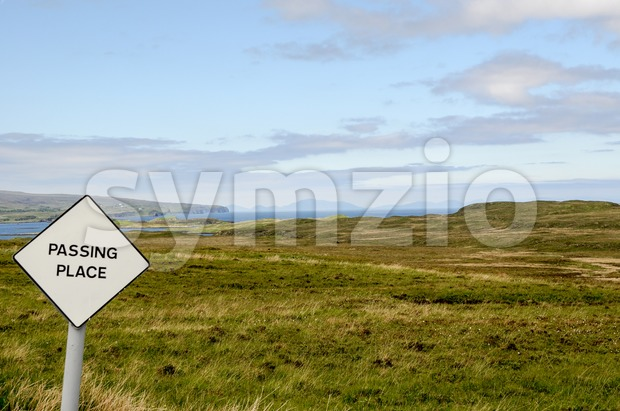 Passing Place Sign, Isle of Skye, Scotland Stock Photo