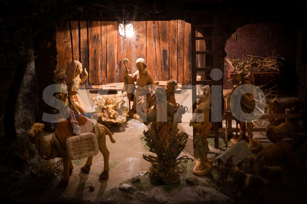 Christmas Manger scene with figurines including Jesus, Mary, Joseph, the Magi and animals