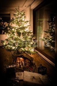 Beautifully decorated Christmas tree Stock Photo