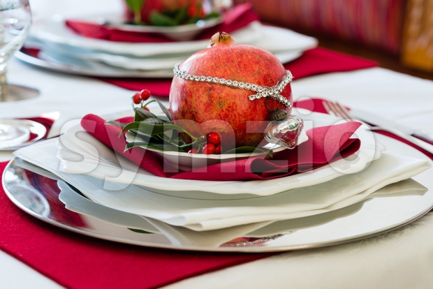 Decorated Christmas Dinner Table Stock Photo