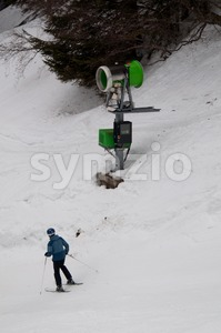snowgun and skier Stock Photo