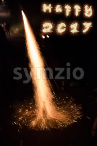 Happy 2017 fireworks Stock Photo