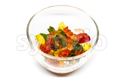 gummy bear candies in a glass bowl Stock Photo