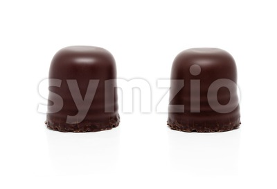 two chocolate covered marshmallows Stock Photo