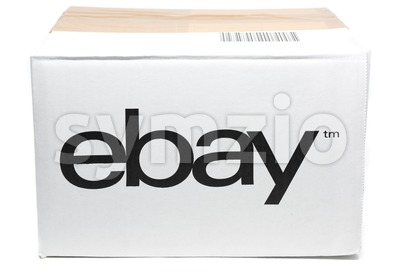 ebay cardboard box isolated on white Stock Photo