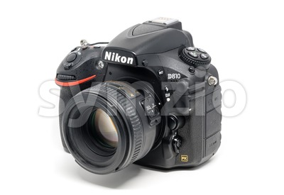 Nikon D810 camera with 50mm lens on white background Stock Photo