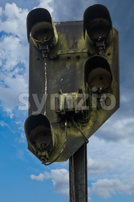 Old rusty railway signal Stock Photo