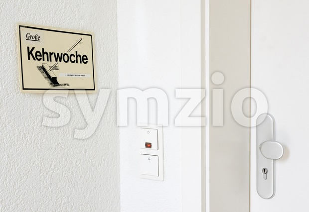 Kehrwoche reminder - the rotation of cleaning duties Stock Photo