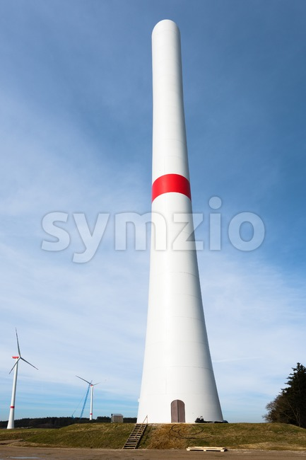 Assembly of wind turbines Stock Photo