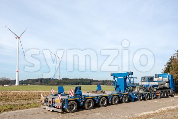 Construction of wind turbines Stock Photo