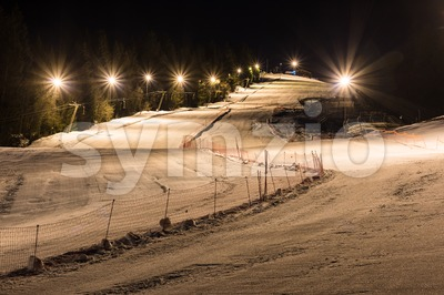 Night skiing on a clear night Stock Photo