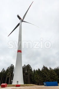 Newly ercted wind turbine Stock Photo