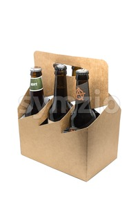 Assortment of craft microbrew beers in a sixpack Stock Photo