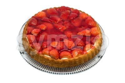 tart with cream and fresh strawberries Stock Photo