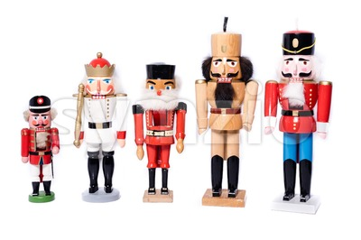 Five antique nutcrackers Stock Photo