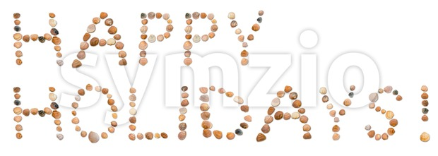 Happy Holidays! Written using single seashells on a white background. Holiday concept.