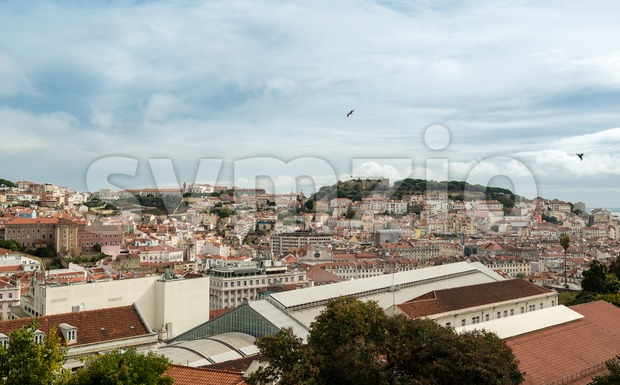 Beautiful colorful and vibrant cityscape of Lisbon, Portugal Stock Photo