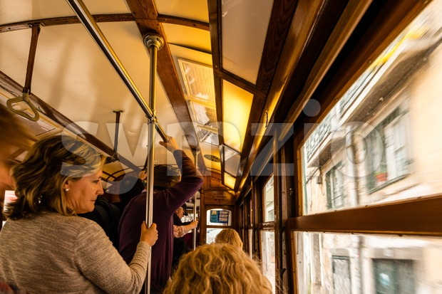 Inside a traditional old tram of Lisbon Stock Photo