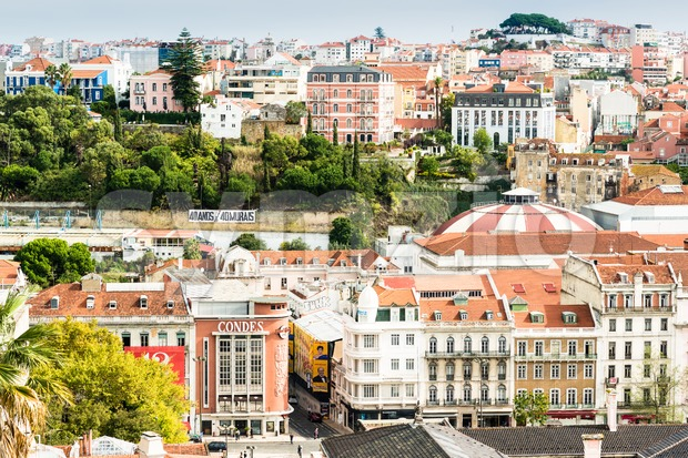LISBON, PORTUGAL - OCTOBER 19, 2015: The beautiful colorful and vibrant cityscape of Lisbon, the capital of Portugal on a ...