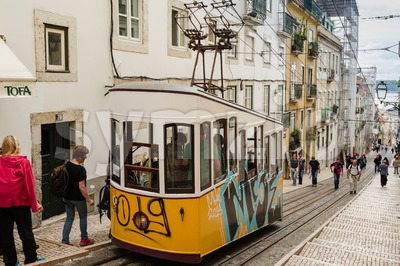 Historic classic yellow tram of Lisbon Stock Photo