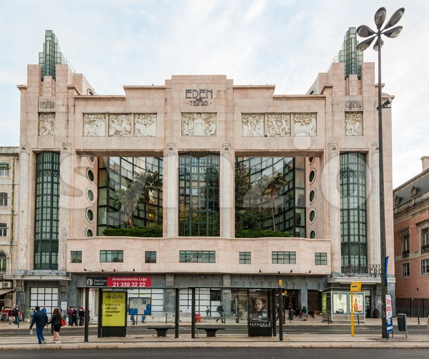 Beautiful Eden Theatre in Lisbon, Portugal Stock Photo