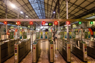 Interior of Rossio Railway Station in Lisbon, Portugal Stock Photo