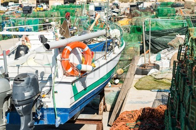 Old fisherboat in a shipyard Stock Photo