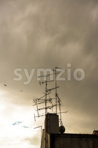 televisions antennas with sunset Stock Photo