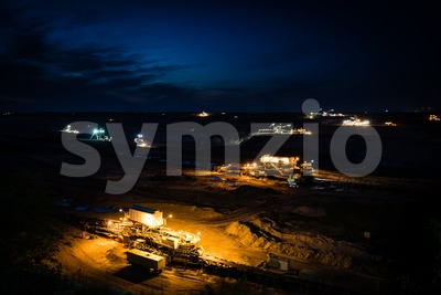 Open-cast coal mining in Germany in the evening Stock Photo