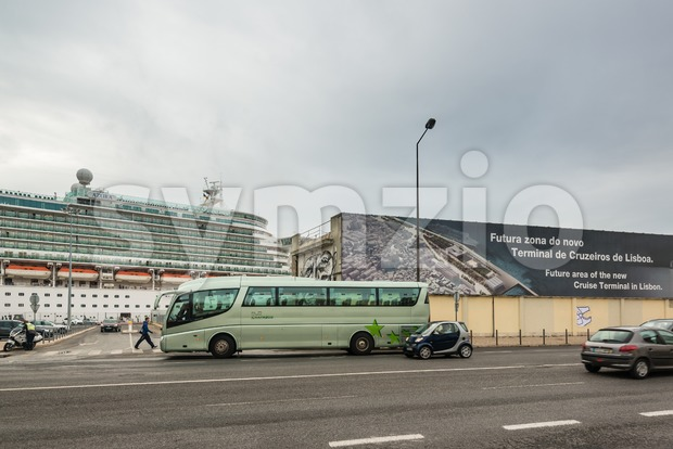 Cruise ship at the future cruise terminal of Lisbon, Portugal Stock Photo