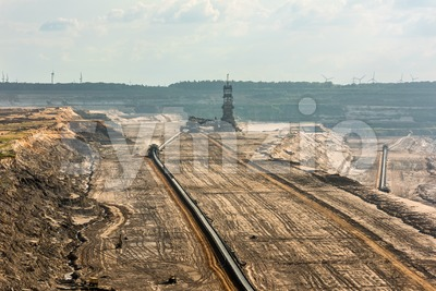 Large machinery at work in a lignite (browncoal) mine Stock Photo