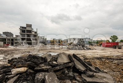Large demolition site Stock Photo