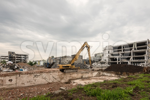 Stuttgart, Germany - May 29, 2016: Demolition work on the former buildings of the KNV Group in Stuttgart, Germany. The ...