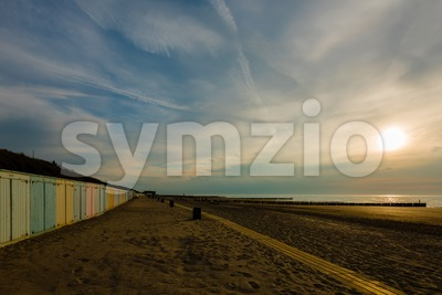 Colorful beach lockers Stock Photo