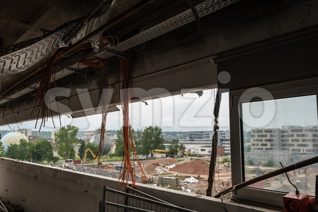 Demolition of large industrial buildings Stock Photo