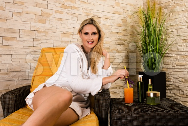 Gorgeous woman relaxing in a health spa Stock Photo
