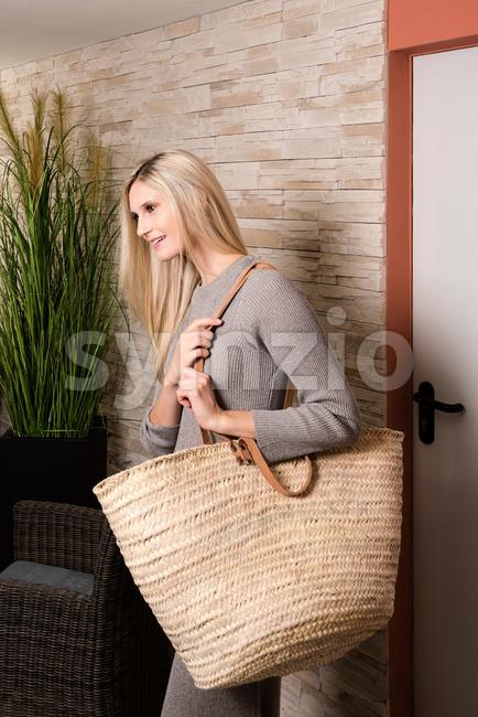Gorgeous woman entering a recreation center Stock Photo